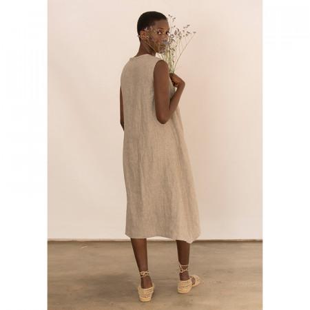 Vestido kaki de lino sin mangas Dona Kolors