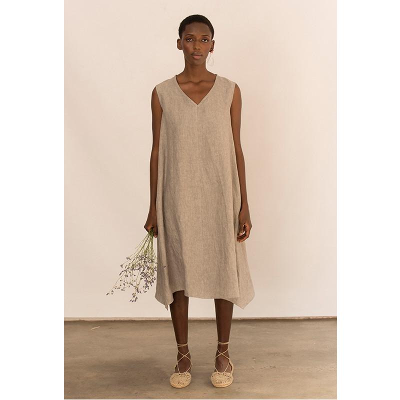 Vestido kaki de lino sin mangas
