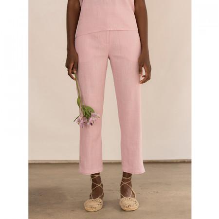 Pantalón tobillero de lino y viscosa rosa