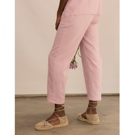 Pantaló tobillero de lli i viscosa rosa