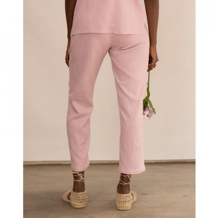 Pantaló amb butxaques de lli i viscosa rosa