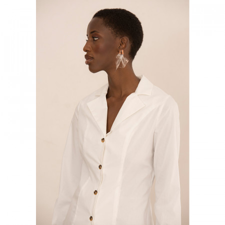 Blusa blanca camisera de algodón