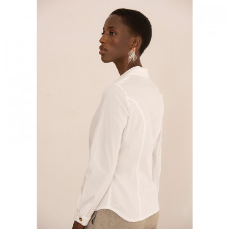 Brusa blanca camisera de màniga llarga de popelín