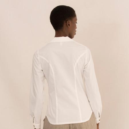 Brusa blanca camisera de màniga llarga de cotó