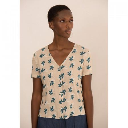 Beige leaf print blouse Helena