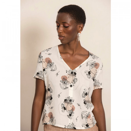 Magnolia print blouse Helena