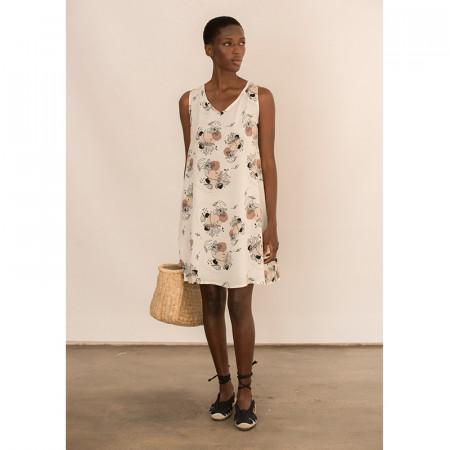 vestido corto de viscosa estampada