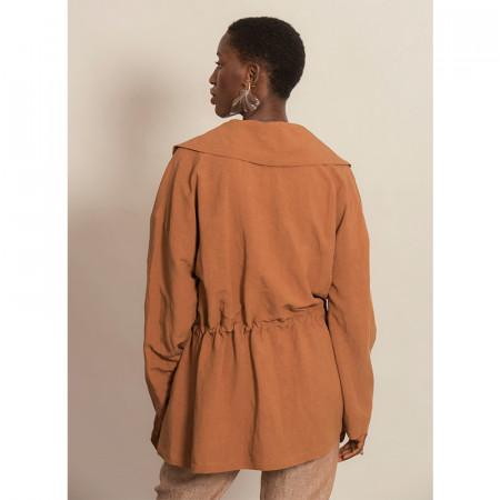 Jaqueta de lli i viscosa ajustable de màniga llarga