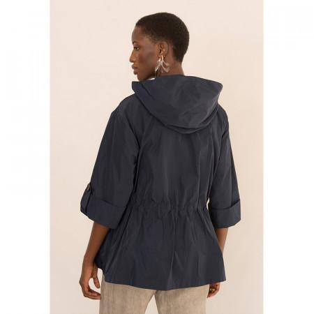 Jaqueta ajustable amb caputxa i butxaques blau marí