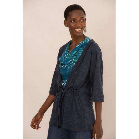 Jaqueta amb cintura ajustable de punt blau marí
