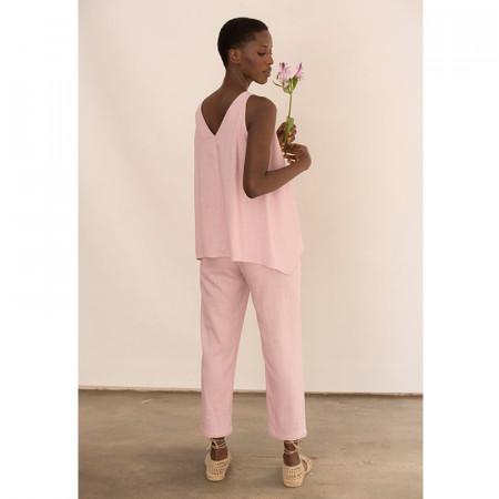 Conjunt de pantaló tobillero i brusa rosa de lli i viscosa sense mànigues