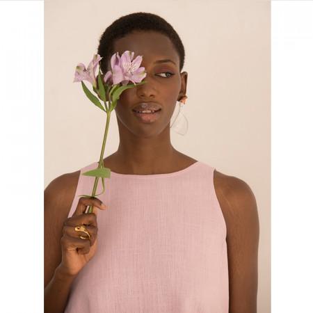 Blusa rosa de lino y viscosa