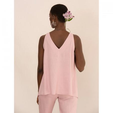 Blusa rosa de tirantes de lino y viscosa