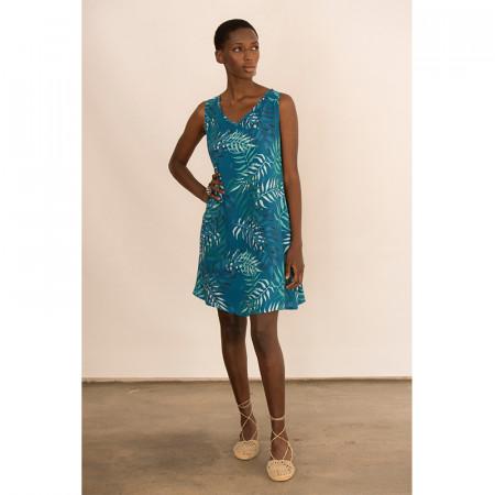 vestido corto de viscosa azul estampada