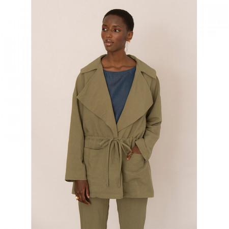 Jaqueta verda ajustable de màniga llarga