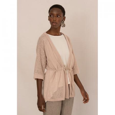 Jaqueta amb cintura ajustable de punt beix