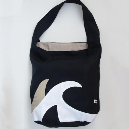 Blue navy linen tote bag