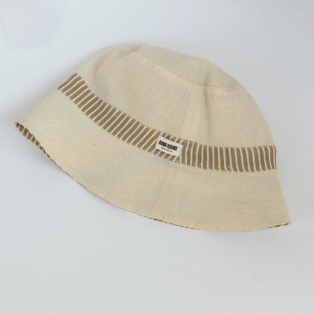 Gorro de playa reversible de algodón beige