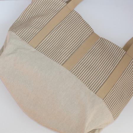 Bossa de platja de lli i cotó amb butxaques exteriors folrada