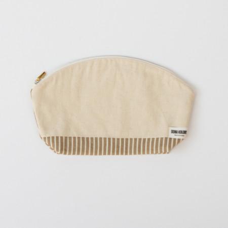 Beige linen makeup bag