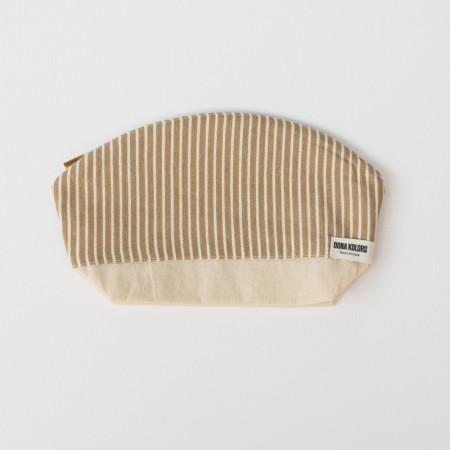 Striped linen makeup bag