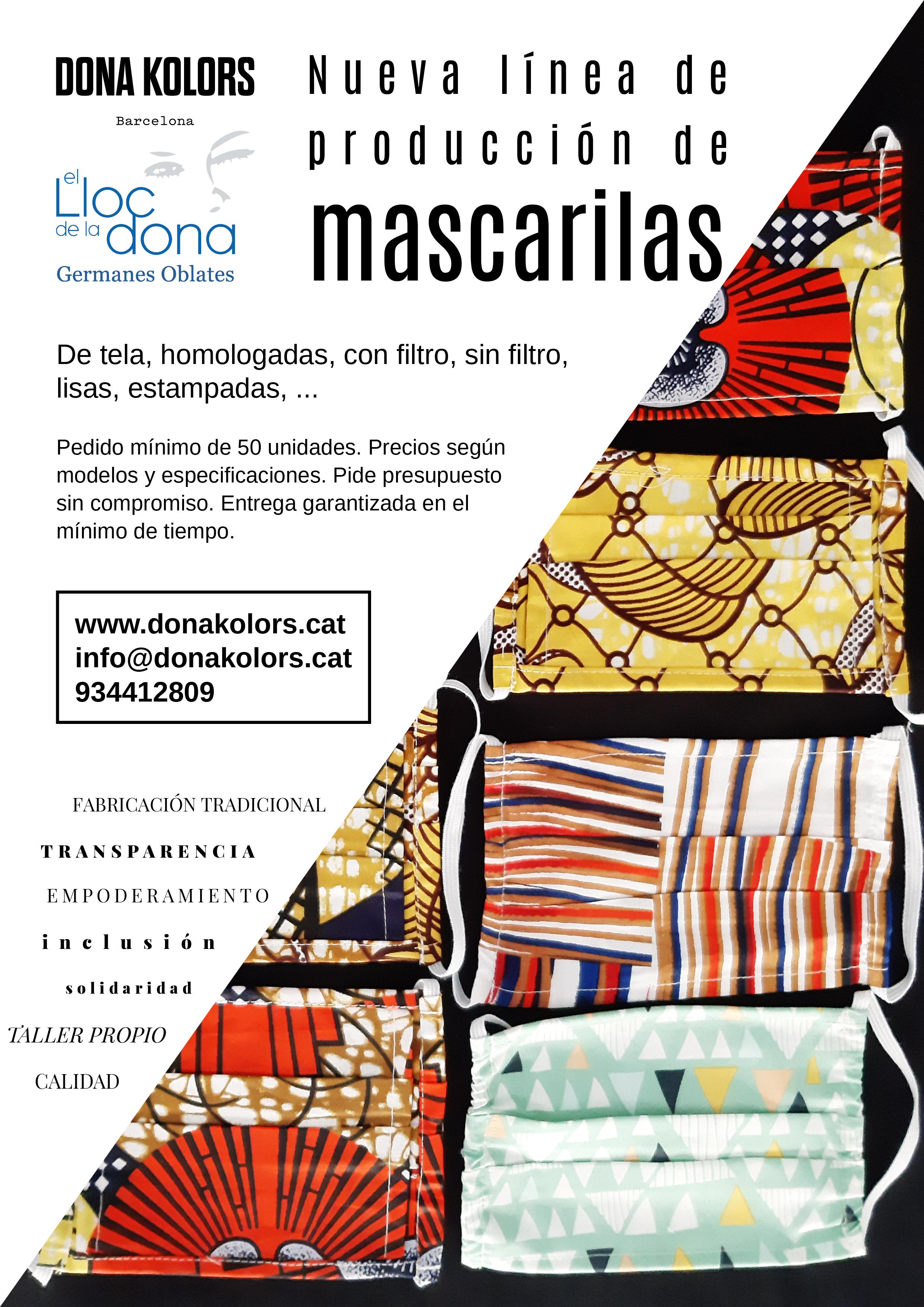 Nueva línea de confección de mascarillas Dona Kolors